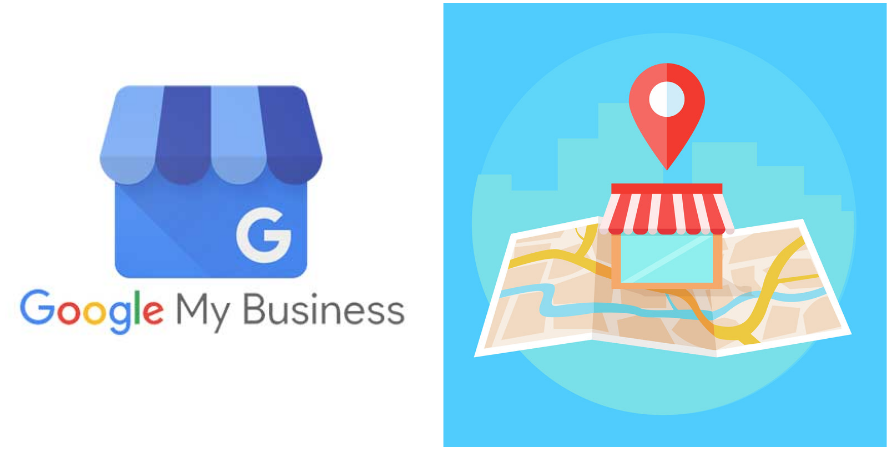 Google My Business Logo and local shop on cartoon map