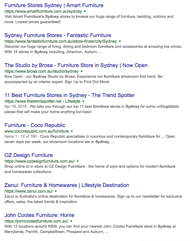 First page SEO results for Furniture Sydney