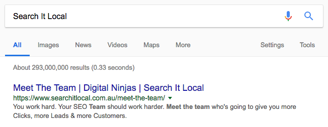 Search It Local Meta Tag and Title