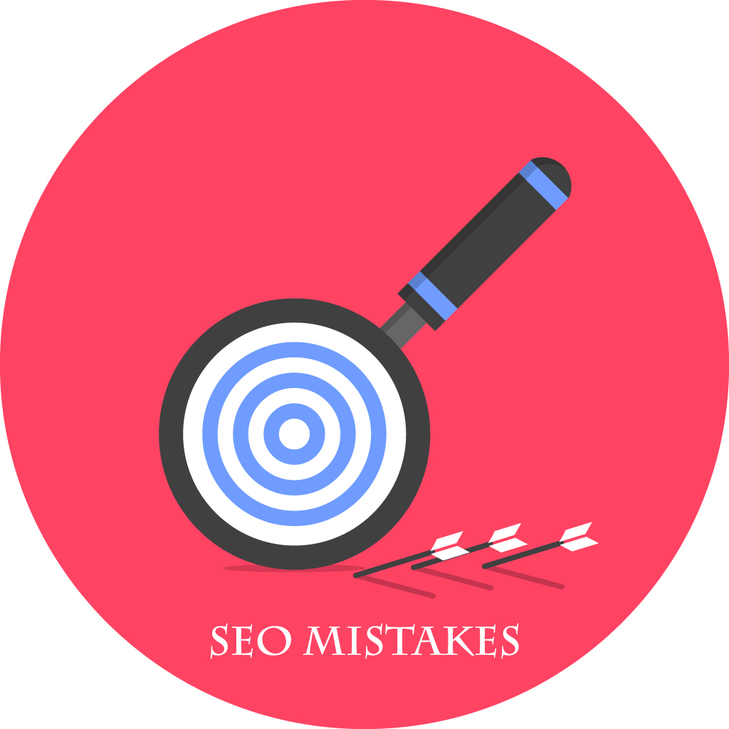 upsidedown magnifying glass on red background with SEO mistakes caption