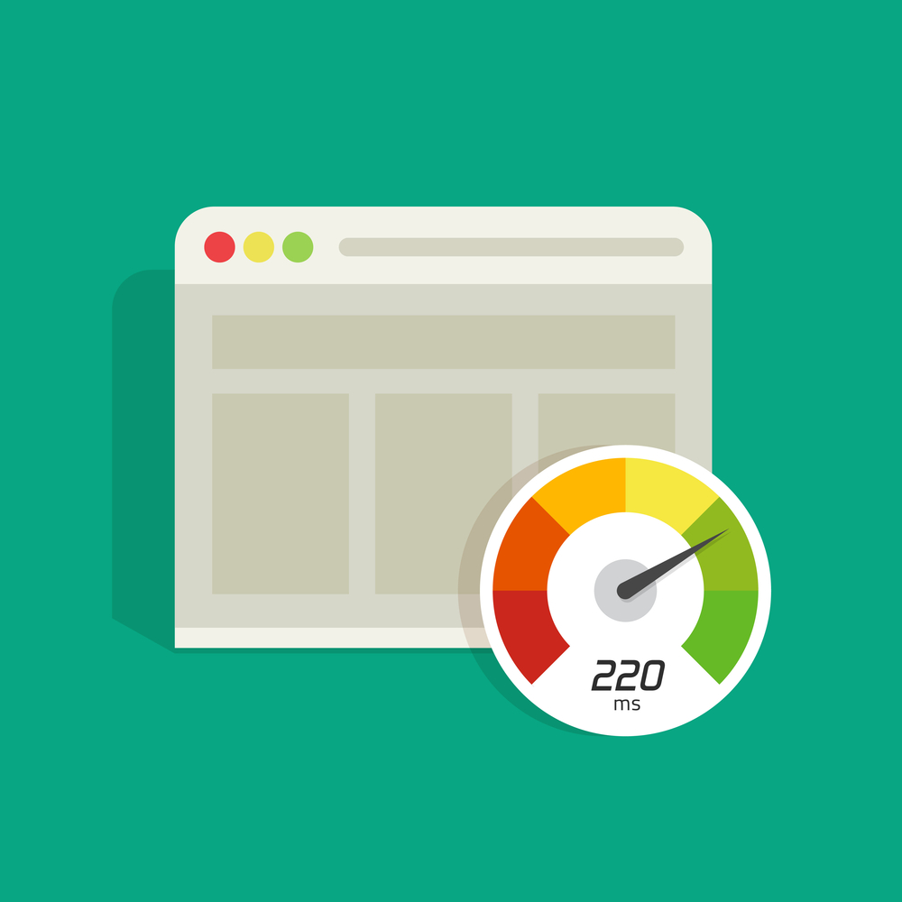 Graphic showing website loading tim