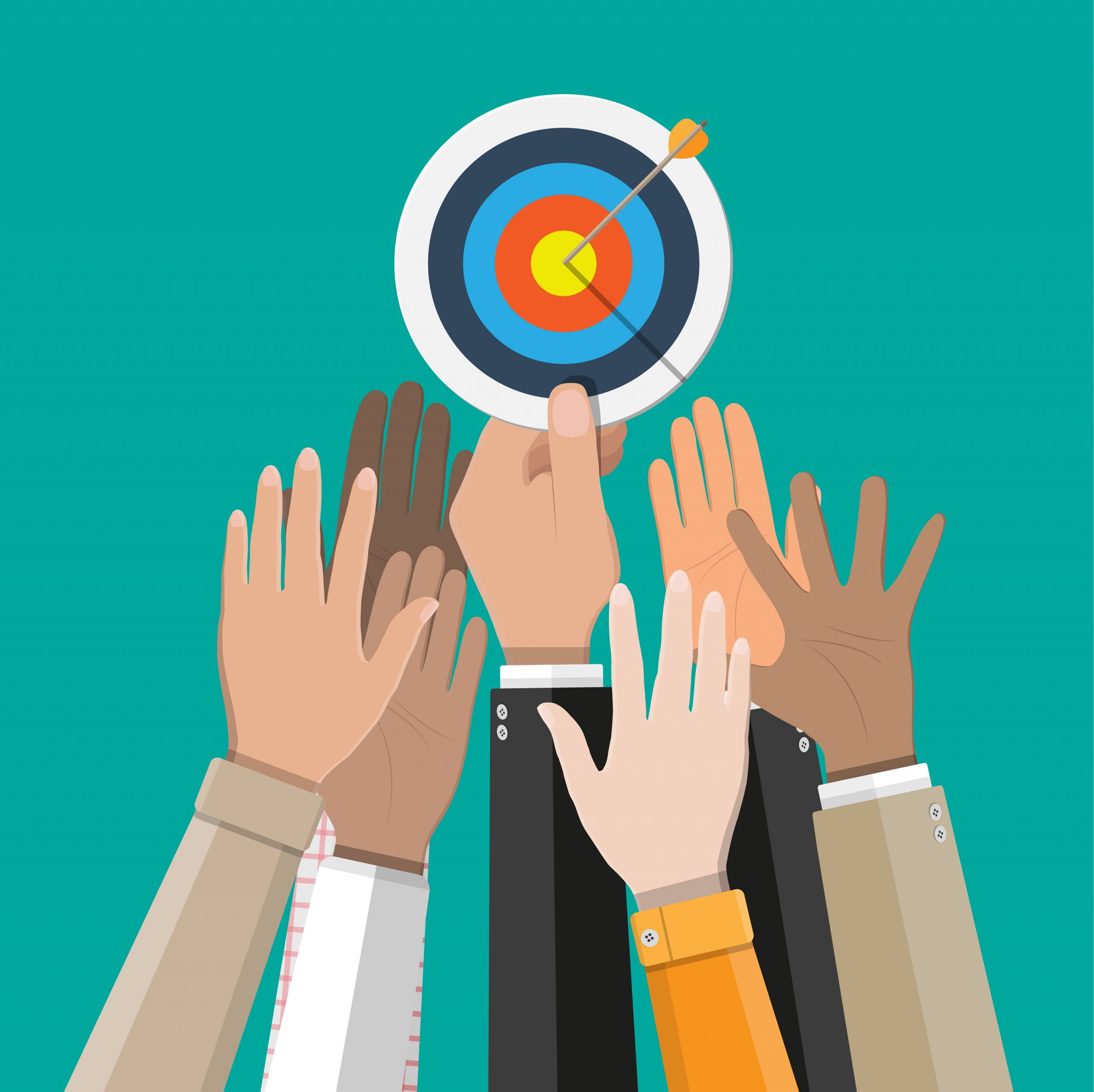 Group of hands reaching up to touch a target with an arrow in the bullseye