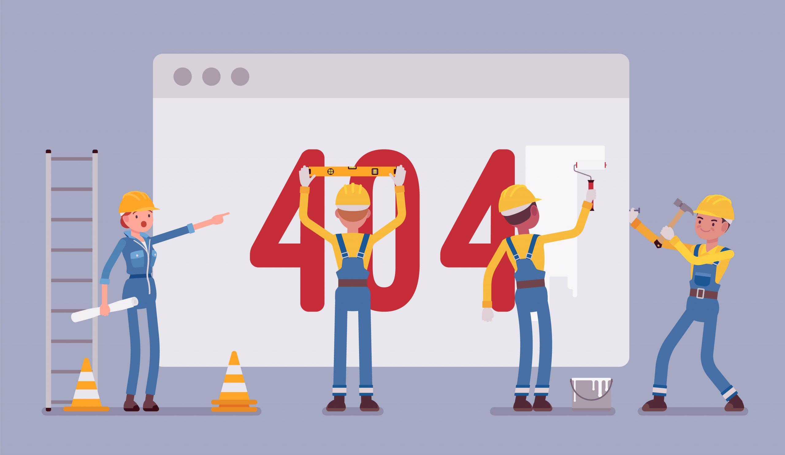Cartoon characters trying to fix an SEO 404 error