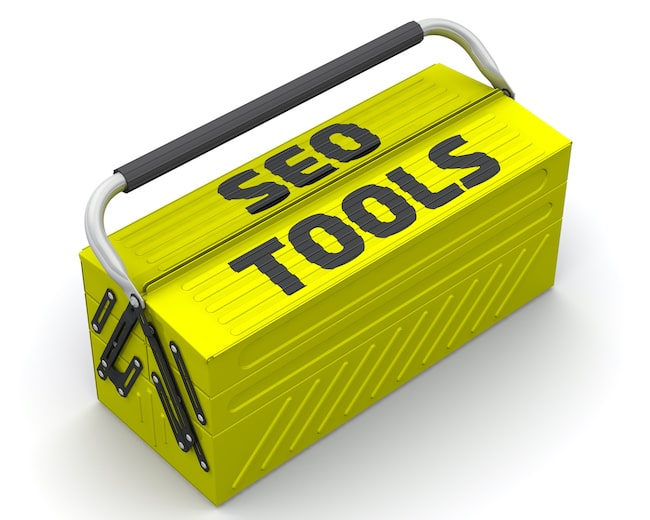 Yellow box labelled SEO check tools