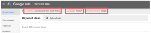 Google Keyword Planner Filtering Options