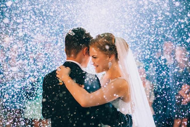 happy wedding couple first dance