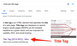 Example of Title Tags on SERP