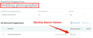 Wedding Photographer Monthly SEO Search Volume