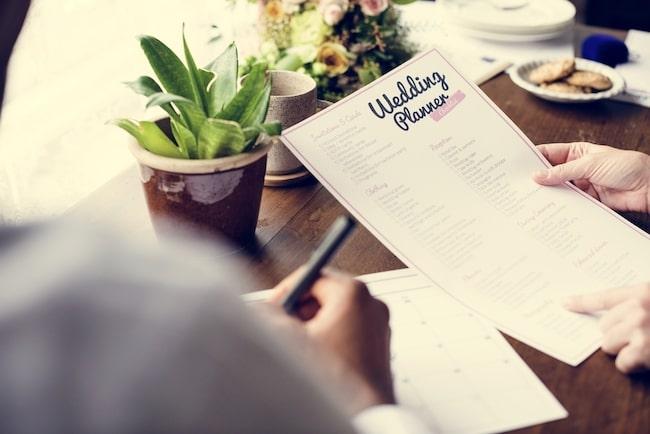 Close up of wedding planner checklist