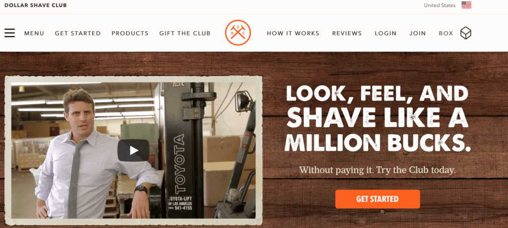 Dollar Shave Club call to action example