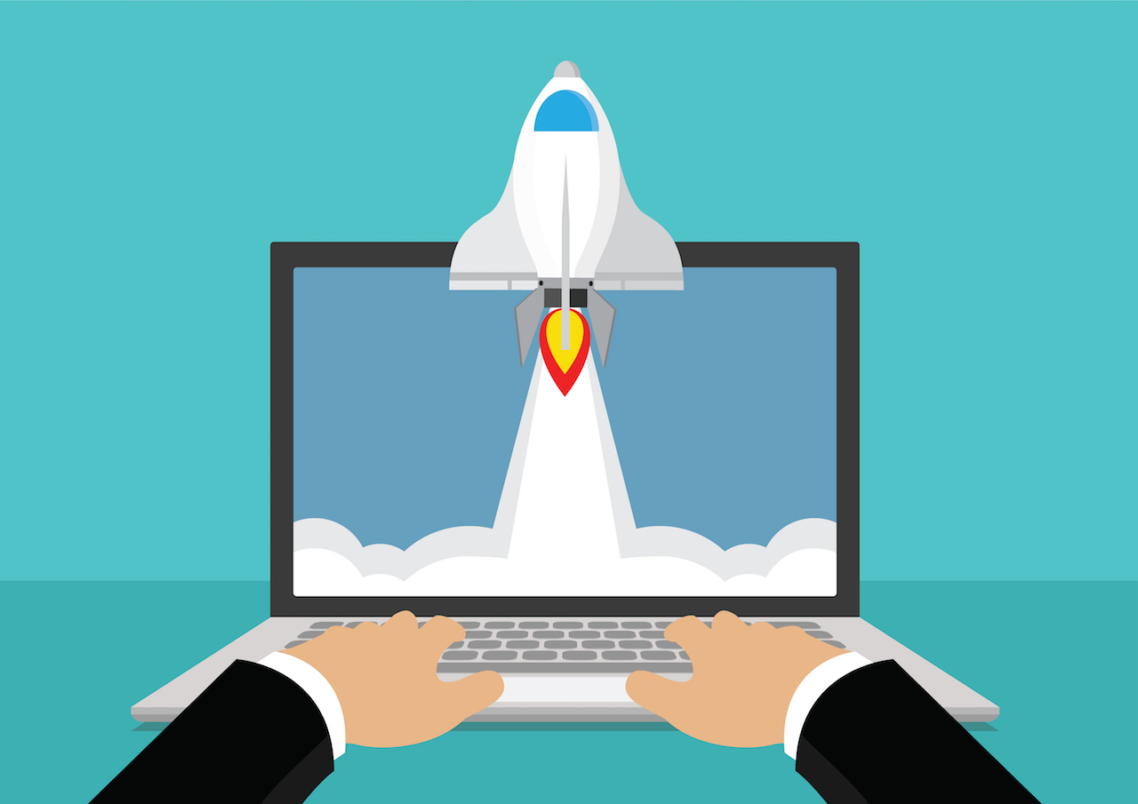Rocketship blasting out of website speed concept