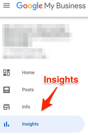 Google My Business Insights tab