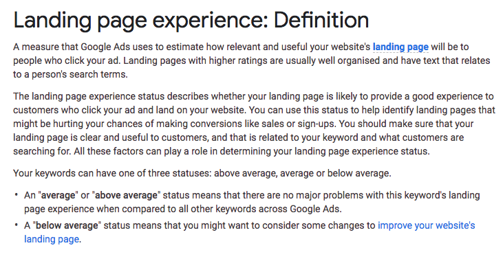 Google AdWords Landing Page Definition