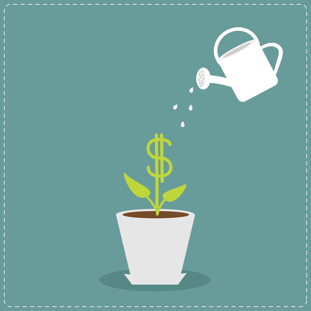 Watering can and plant business success concept