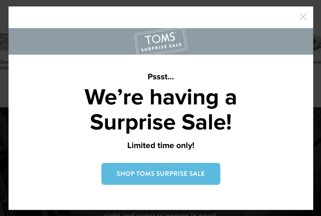 Toms call to action example