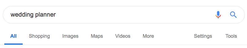 Wedding planner Google search