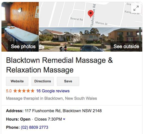 Blacktown Remedial Massage GMB listing