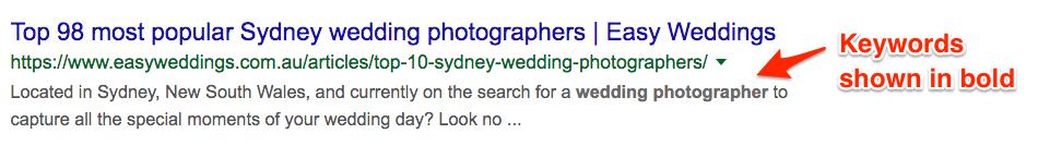 Bold Wedding SEO keywords in meta description