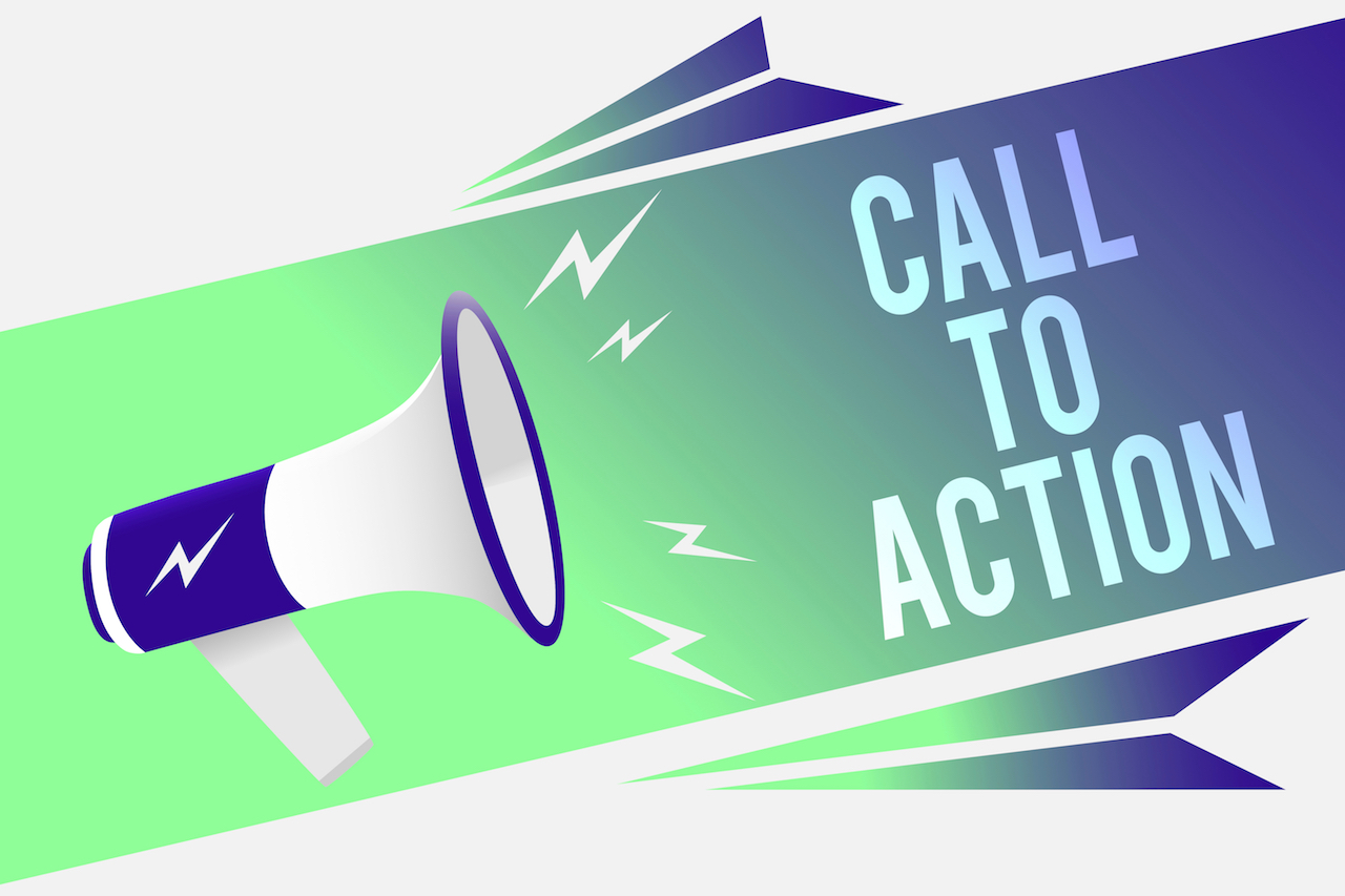Megaphone call to action concept