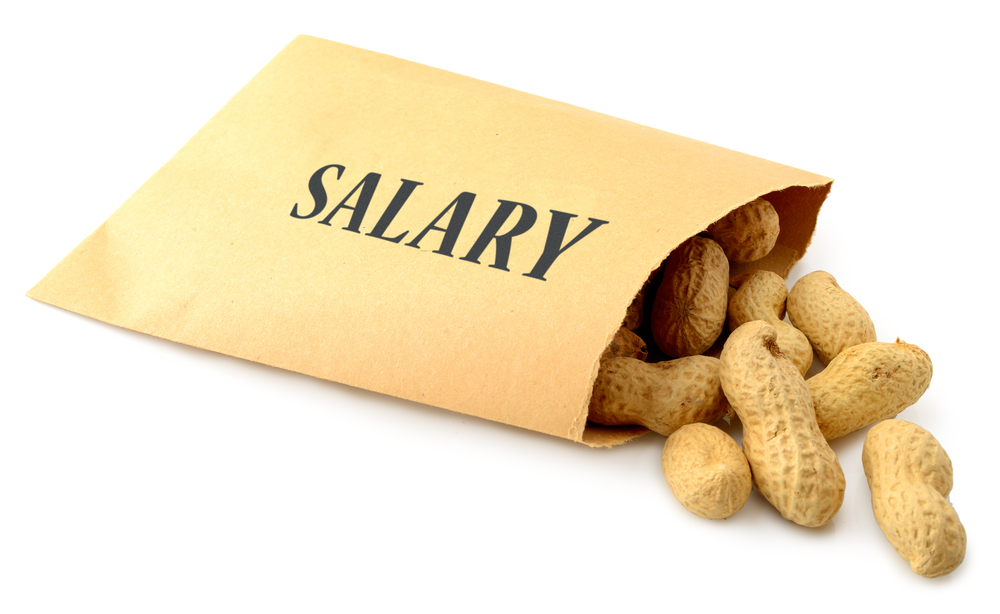 salary envelope with peanuts spilling out