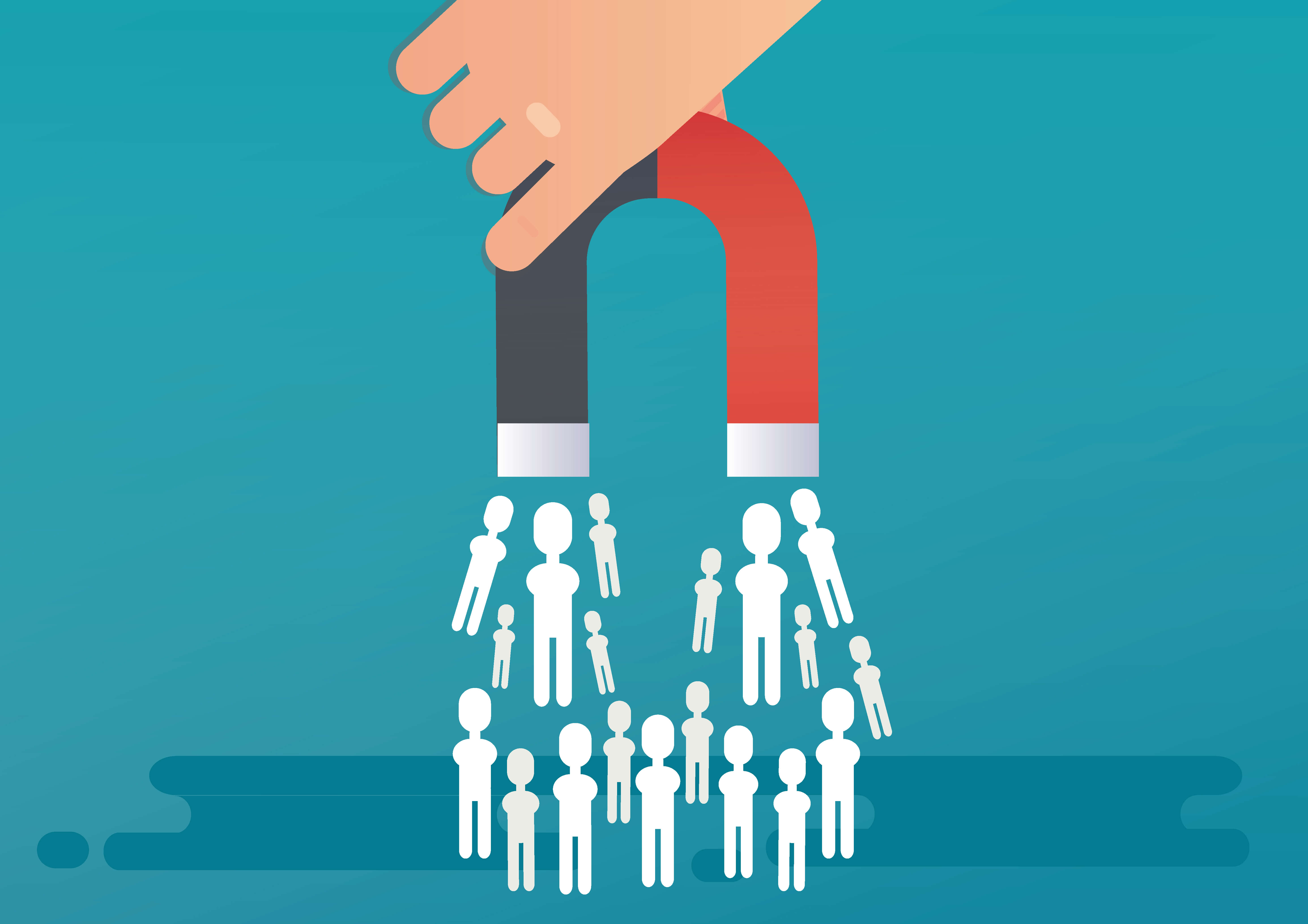 hand holding magnet picking up white figures representing lead generation