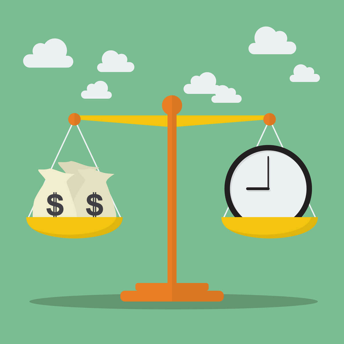 scales weighing time against money